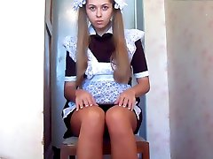 cute russian maid solo masturbation