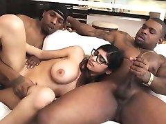 Horny hottie chick Mia Khalifa strokes her large cock