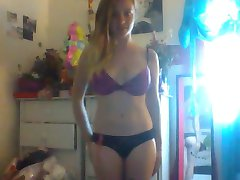 Sexy Blonde Teen Strips