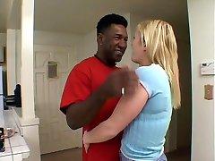 Sexy blond white whore fucks black pole