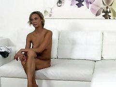 Czech light-haired waitress fucks in casting