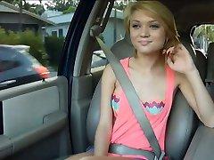Teen Dakota Skye gives head and fucked in the backseat