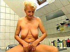 Old Blonde Granny Fun in the Bath