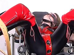 Bound babe wearing latex - Absurdum Productions