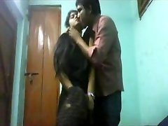 College students lovers at home