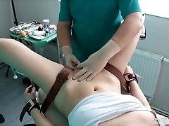 Dame's orgasm on the gynecological tabouret