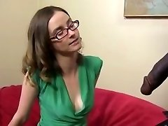 Super-cute and skinny brunette with a Big Black Cock