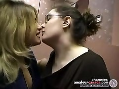 Two obese amateur lesbians make out and kissing in office