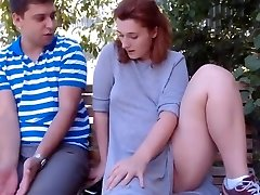 Sandy-haired and neighbor outdoor(pussy licking)