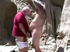 Two mature aged gay grandpa playing with each other