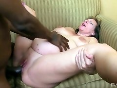 Ugly pregnant blond haired whore rides and sucks enormous black cock