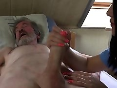 Teenager nurse Lady Dee fuck treatment for sick elder patient takes body cumshot