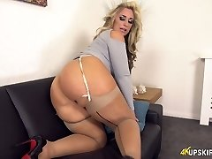 Killing hot Brit milf Kellie OBrian shows off her white panties upskirt