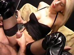 Blonde shemale masturbating cum onto her belly - Pandemonium