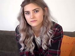 Nervous cutie Tieny Mieny showcases her hymen for the first time