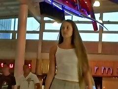 Perfect blond teen amateur up skirt action
