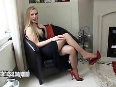 Super-fucking-hot young blonde wearing sexual and very glamour high heel shoes
