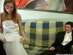 Sexy Bride gets nailed by two groomsmen