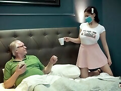 Busty young thing under quarantine with old grandpa