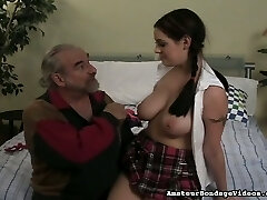 Sexy college doll with juicy boobies gets spanked hard