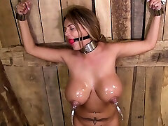 Brit pornstar bondage and cumshot