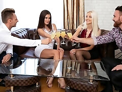 Two girls in stockings and the boys had on the same couch group bang-out SV