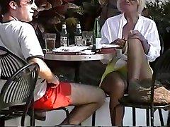 Beautiful blonde milf sitting upskirt green panty