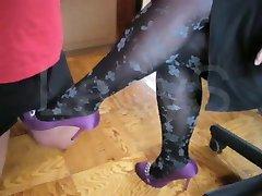 High heel job, cum on shoe