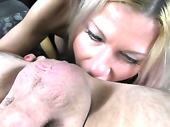Blonde gives rimjob and fucks in fake taxi