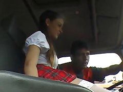 Schoolgirl gives public CFNM blowjob