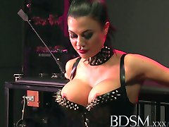 BDSM XXX Slave boy licks Mistresses spit from the cage floor before a good beating