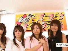 Subtitled Japanese amateurs handjob game with cumshots