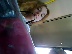 Upskirt russian ginger in bus