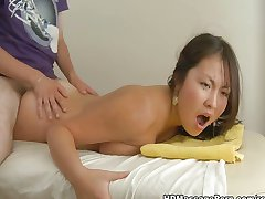 Asian busty girl massaged and fucked