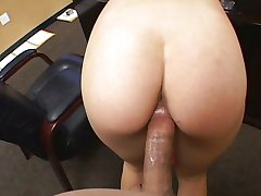 Hot brunette creampied POV