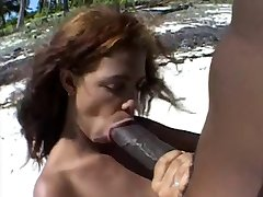 Big brown nipples &Big brown cock on the beach.