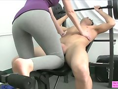 Cutie in Leggings Ballbusting Foot Fetish in the Gym