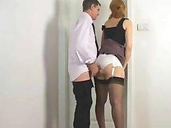 Rubbing against secretary satin panties