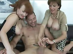 Group Sex - 2 matures and 1 Guy