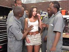 Amirah Adara Fucks An Entire Crew Of Black Guys