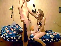 Masked Russian amateur masturbates and sucks dick before sitting on his face