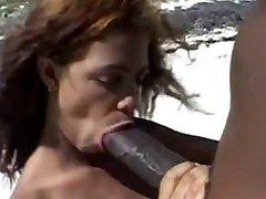 Big brown nipples &Big brown cock on the beach.
