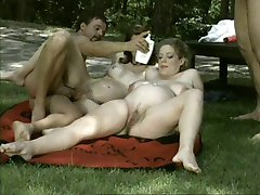Pregnant BBW in Groupsex Outdoors