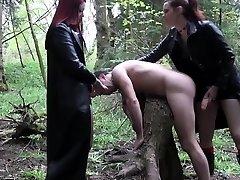 Goth femdoms pegging futile dummy together