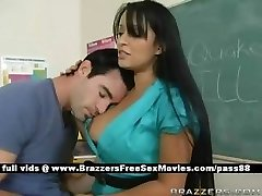 Busty brunette educator at school going through an earthquake