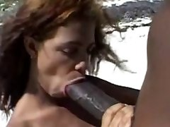 Huge chocolate-colored nipples &Huge chocolate-colored cock on the beach.
