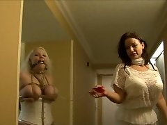 Full figured girl frogtied in white lingerie