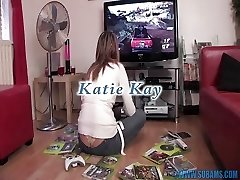 British slut masturbates with vid game controllers