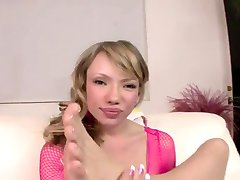 Delicious Maya Hills has her feet sprayed with spunk