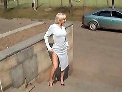 Torrid Blonde Russian MILF Posing Outdoors